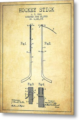 Hockey Stick Patent Drawing From 1915 Metal Print by Aged Pixel