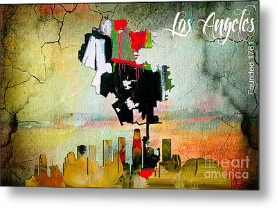 Los Angeles Map And Skyline Metal Print by Marvin Blaine