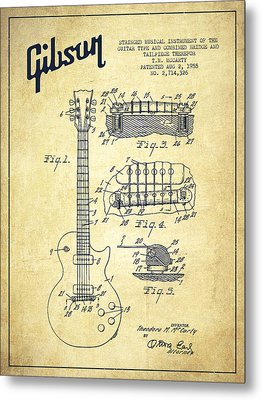 Mccarty Gibson Les Paul Guitar Patent Drawing From 1955 - Vintage Metal Print by Aged Pixel