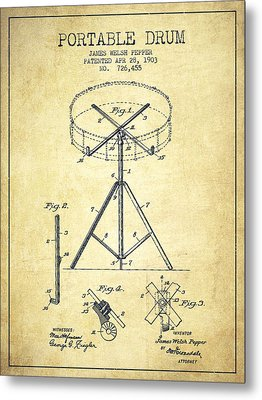 Portable Drum Patent Drawing From 1903 - Vintage Metal Print by Aged Pixel