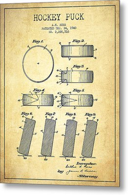 Roll Prevention Hockey Puck Patent Drawing From 1940 Metal Print by Aged Pixel