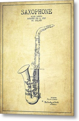 Saxophone Patent Drawing From 1937 - Vintage Metal Print