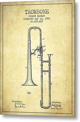 Trombone Patent From 1902 - Vintage Metal Print