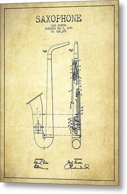 Saxophone Patent Drawing From 1899 - Vintage Metal Print