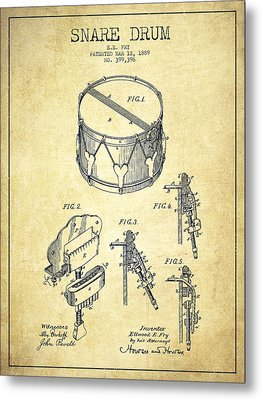Vintage Snare Drum Patent Drawing From 1889 - Vintage Metal Print by Aged Pixel