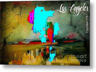 Los Angeles Map And Skyline Metal Print
