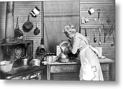 Woman Baking Metal Print