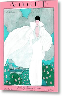 A Vintage Vogue Magazine Cover Of A Woman Metal Print by Georges Lepape