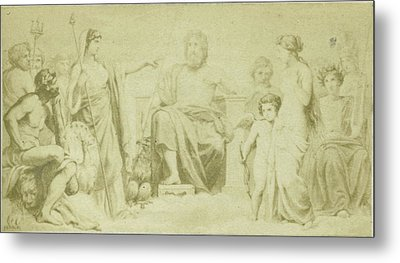 Drawing By F. Barrias, Virgil Scene From The Aeneidos Metal Print by Artokoloro