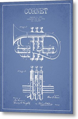 Cornet Patent Drawing From 1901 - Light Blue Metal Print