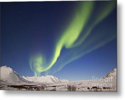Aurora Borealis With Moonlight Metal Print by Joseph Bradley