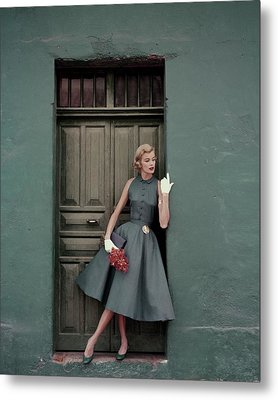 A 1950s Model Standing In A Doorway Metal Print
