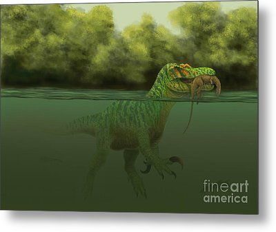 A Baryonyx Escapes Swimming Metal Print by Alvaro Rozalen