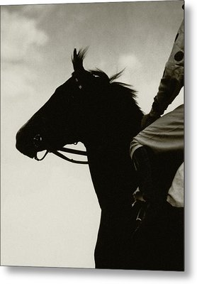 A Black Racehorse Metal Print