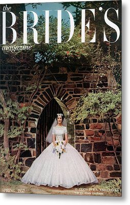A Bride In Front Of Stone Gate Metal Print by Carmen Schiavone