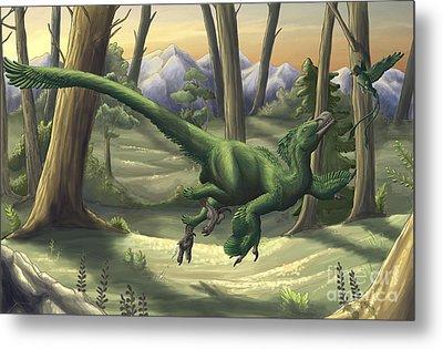 A Bright Green Velociraptor Runs Metal Print