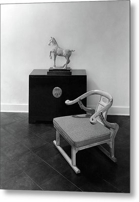 A Chair, Bedside Cabinet And Sculpture Of A Horse Metal Print by Haanel Cassidy