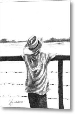 A Child On A Farm Metal Print by J Ferwerda