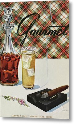 A Cigar In An Ashtray Beside A Drink And Decanter Metal Print