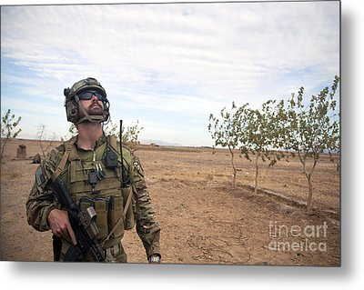 A Coalition Force Member Looks For Air Metal Print by Stocktrek Images