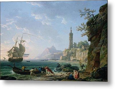 A Coastal Mediterranean Landscape Metal Print by Claude Joseph Vernet