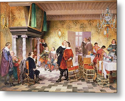 A Convivial Meeting Of The Brewers Metal Print by Louis Haghe