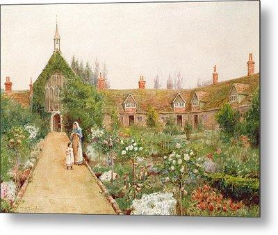 A Country Garden At Bray, Berkshire Metal Print by Thomas Nicholson Tyndale