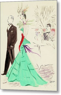 A Couple Standing In Profile Metal Print