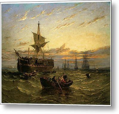 A Dismantled East Indiaman In The Thames Estuary Metal Print by William Adolphus Knell