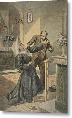 A Drama In An Asylum Assassination Metal Print by French School