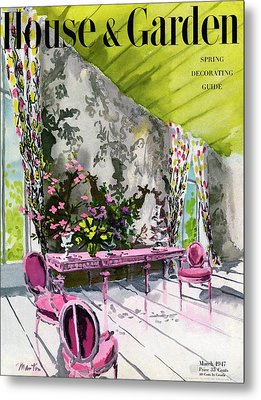 A Drawing Room With Schumacher Wallpaper Metal Print by Tom Martin