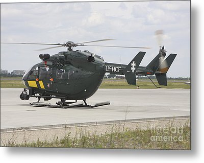 A Eurocopter Ec145 Helicopter Metal Print by Timm Ziegenthaler