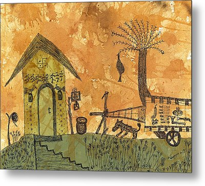 A Farm In India With Hut And Bull Cart Metal Print
