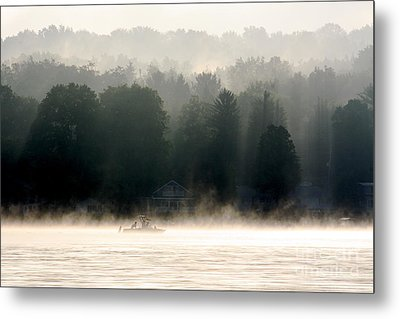 A Foggy Morning Fishing Metal Print by Jay Nodianos