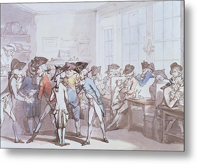 A French Coffee House Metal Print by Thomas Rowlandson