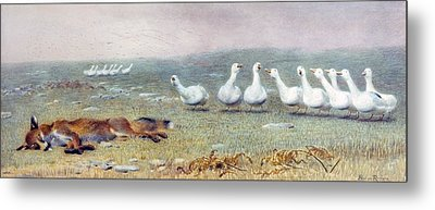 A Game Of Fox And Geese, 1868 Metal Print by Briton Riviere