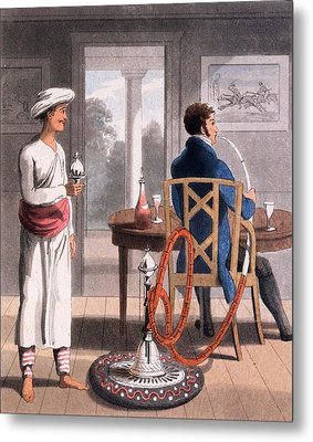 A Gentleman With His Hookah Burdah, Or Metal Print by Charles D'Oyly