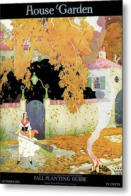 A Girl Sweeping Leaves Metal Print by The Reeses