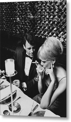 A Glamorous 1960s Couple Dining Metal Print by Horn & Griner