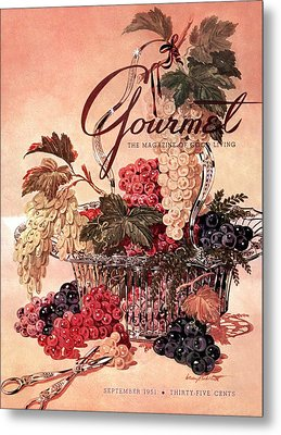 A Gourmet Cover Of Grapes Metal Print by Henry Stahlhut