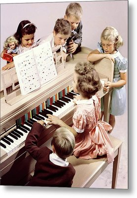 A Group Of Children At The Piano Metal Print