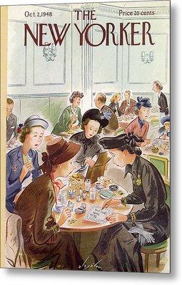 A Group Of Women Review A Dinner Receipt Metal Print