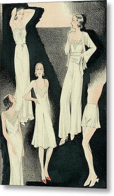 A Group Of Women Wearing White Designer Dresses Metal Print
