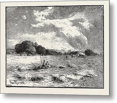 A Hayfield At Marlow Metal Print
