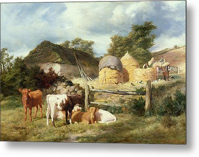 A Highland Croft, 1873 Metal Print by Peter Graham