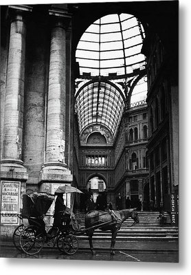 A Horse And Cart By The Galleria Umberto Metal Print by Robert Randall