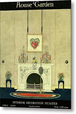 A House And Garden Cover Of A Fireplace Metal Print by H. George Brandt