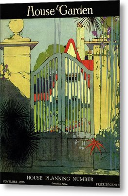 A House And Garden Cover Of A Gate Metal Print by H. George Brandt