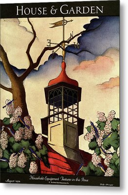 A House And Garden Cover Of A Weathervane Metal Print by Bradley Walker Tomlin