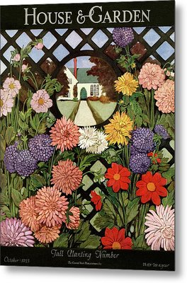 A House And Garden Cover Of Flowers Metal Print by Ethel Franklin Betts Baines